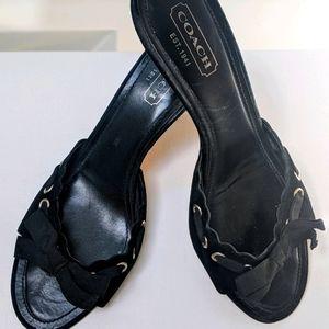 Coach black  suede open toe mules